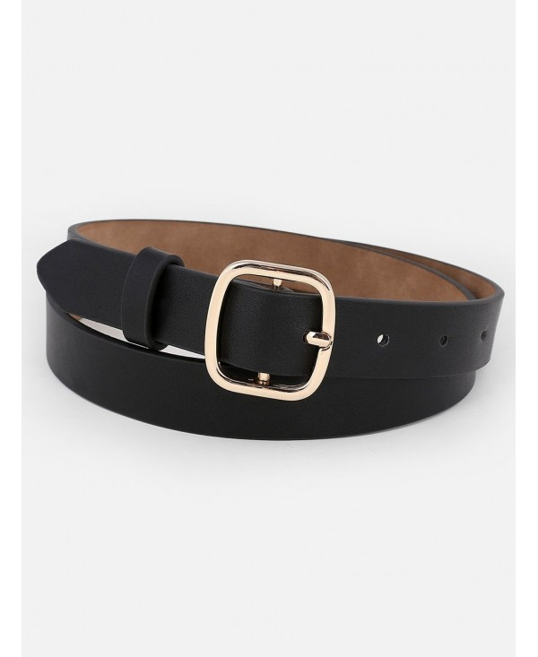 Metal Buckle Artificial Leather Skinny Belt