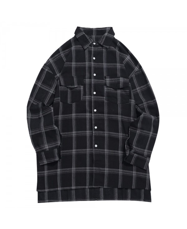 Chest Flap Pockets Tartan Long Sleeves Shirt