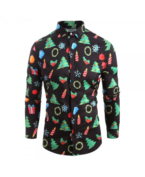 Hem Curved Christmas Elements Print Long Sleeve Shirt