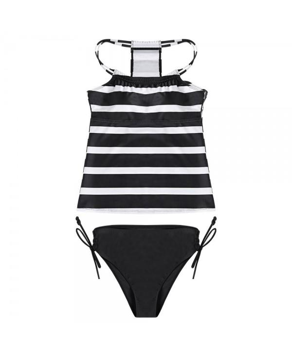Women Sexy Striped Print Strap Two-piece Swimwear Stylish Bikini Set