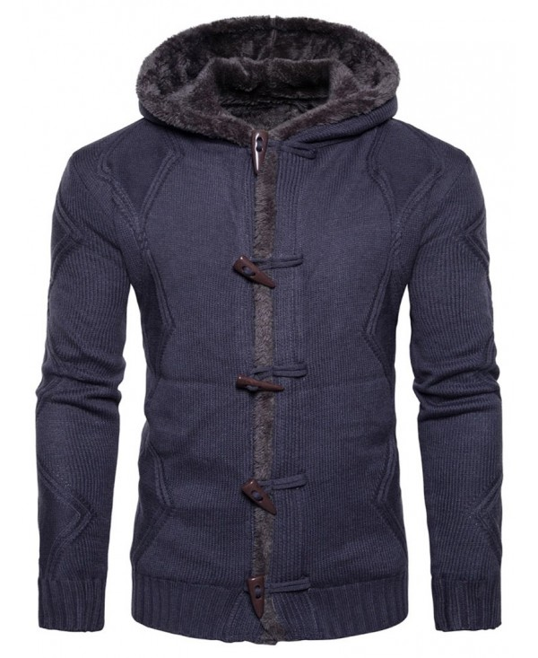 Hooded Horn Button Fleece Knitted Jacket