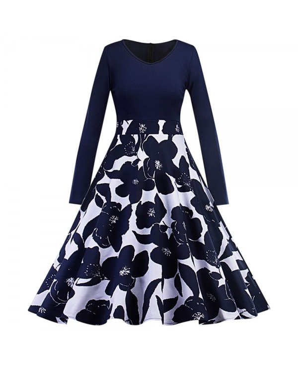 V Neck Long Sleeve Floral Print A-line Women Dress