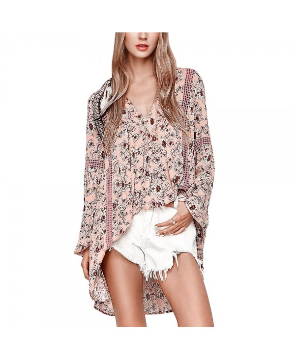Long Sleeve Floral Print Mini Swing Dress