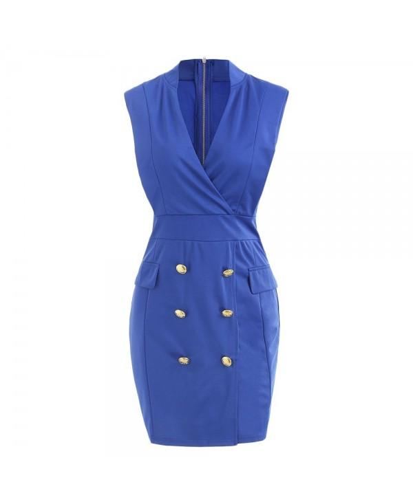 Plunge Neck Double Button Sheath Dress