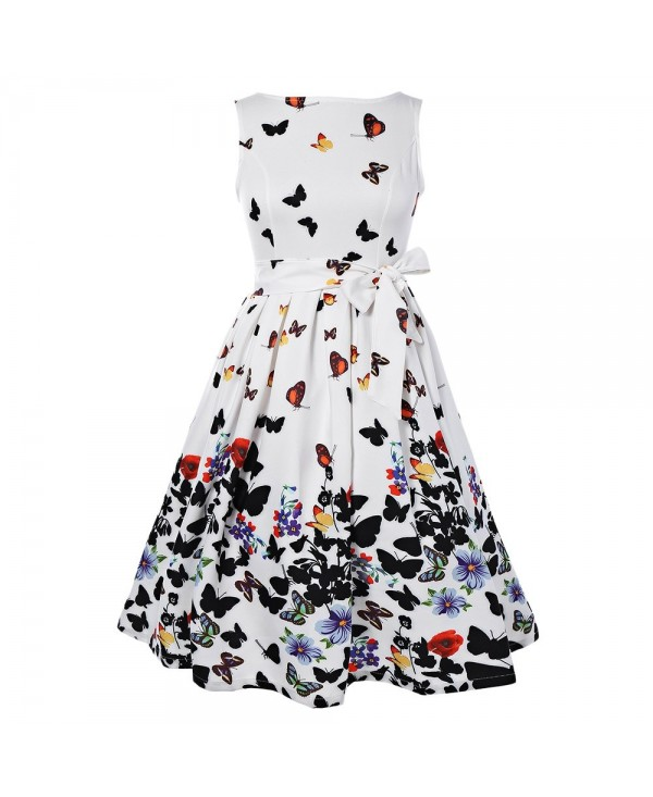Boat Neck Sleeveless Butterfly Print Tie A-line Women Dress