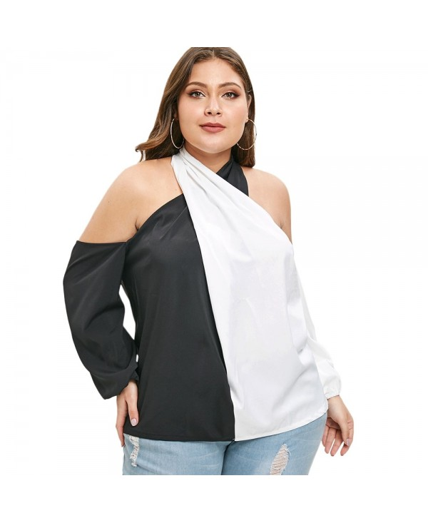 Plus Size Cold Shoulder Contrast Blouse