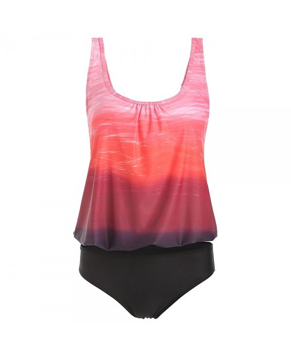Ombre Color Top With Briefs Tankini Set