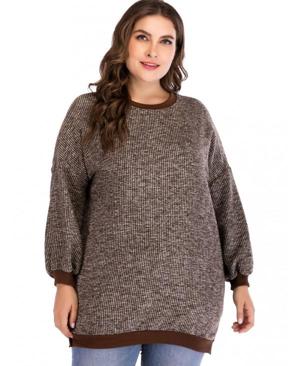 Plus Size Contrast Color Loose Knit Tops
