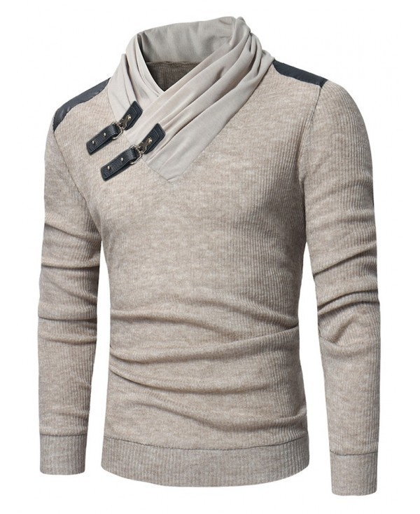 Buckles PU Pullover Sweater