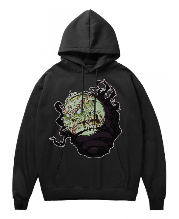 Cartoon Evil Baseball Print Pocket Fleece Hoodie