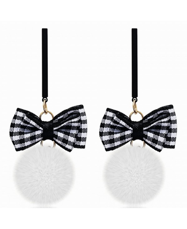 Korean Style Graceful Stripe Bow Hair Bulb Long Earrings Charm Jewelry