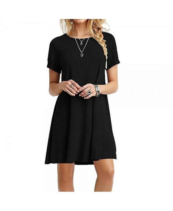 Casual Tshirt Dress Women Summer Plain Loose Short Sleeves Midi Dresses Vestidos