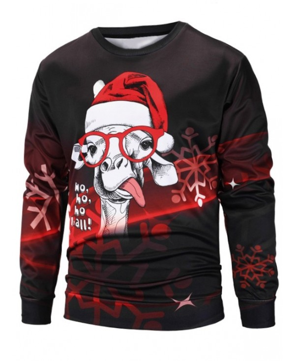 Christmas Cap Sheep Print Pullover Sweatshirt