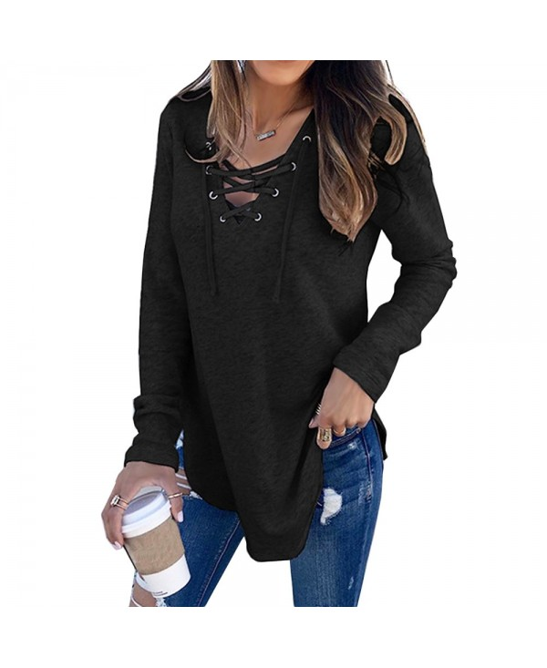 Womens V Neck Long Sleeve Loose Casual Sweaters Pullover Tops