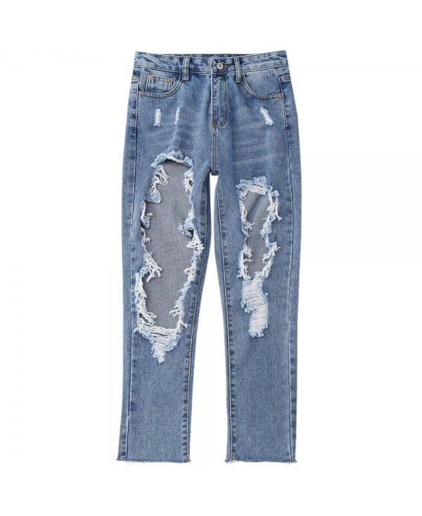 Distressed Front Frayed Hem Jeans