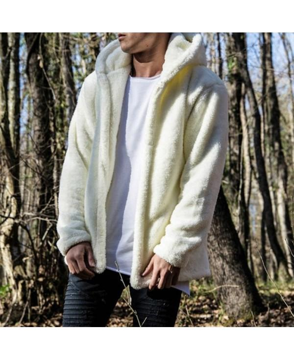New Man Fashion Full Sleeve with Hooded Faux Fur Warm Solid Casual Cardigan Coat
