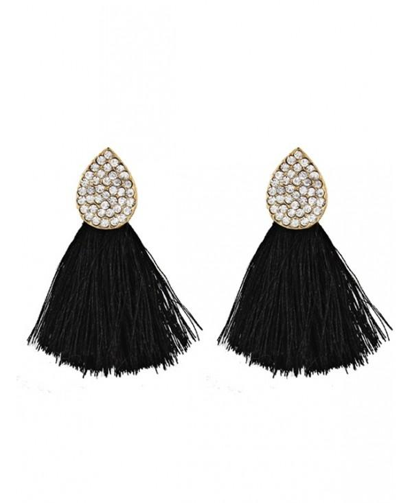 Vintage Water Drop Shape Rhinestone Embellished Tassel Earrings