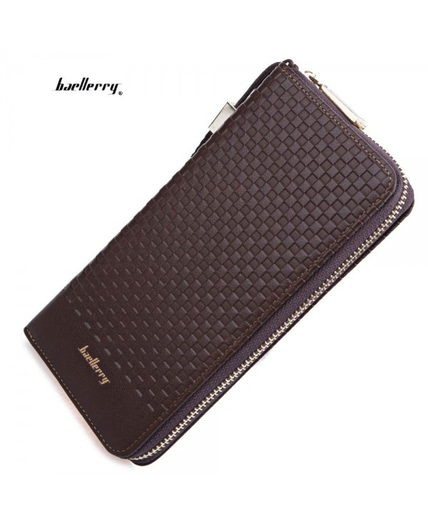 Baellerry Weave Plaid Letter Zipper Clutch Portable Wallet for Men