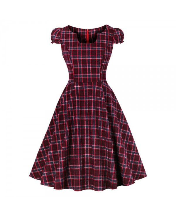 Square Collar Short Sleeve Plaid Print A-line Women Vintage Dress