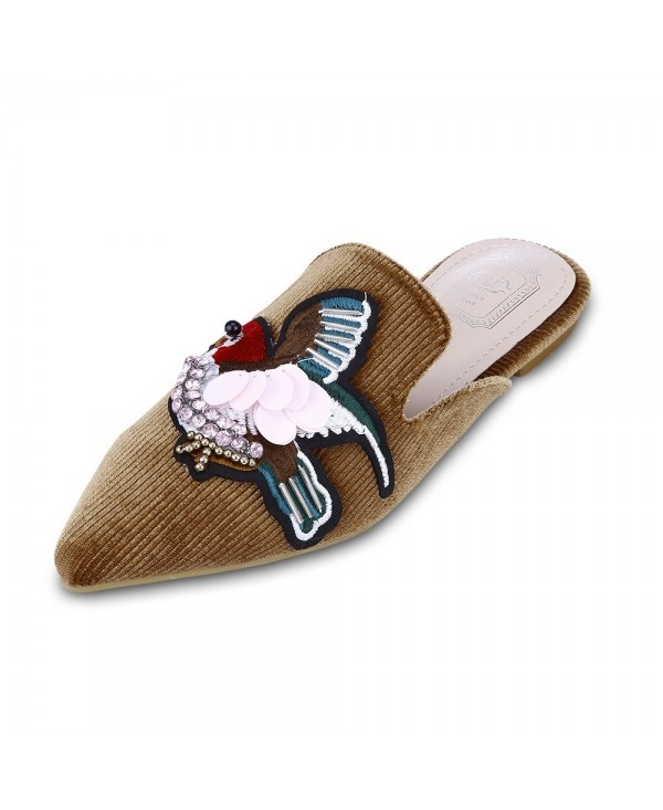 Trendy Pointed Toe Bird Embroidery Flat Heel Women Slippers