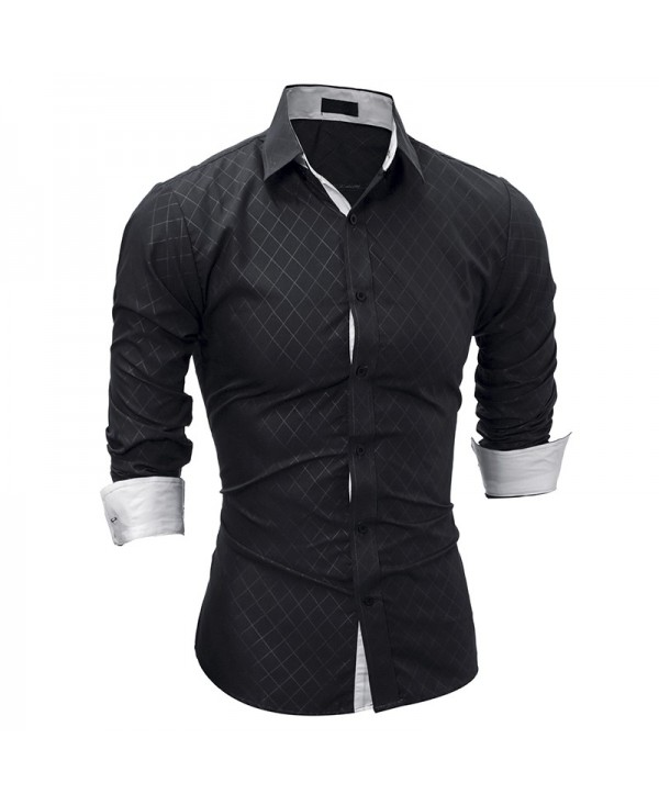 Classic Lined Rhombic Male Casual Long Sleeve Shirt