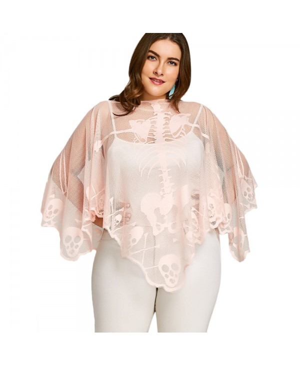 Plus Size Skeleton Lace See Thru Poncho Blouse