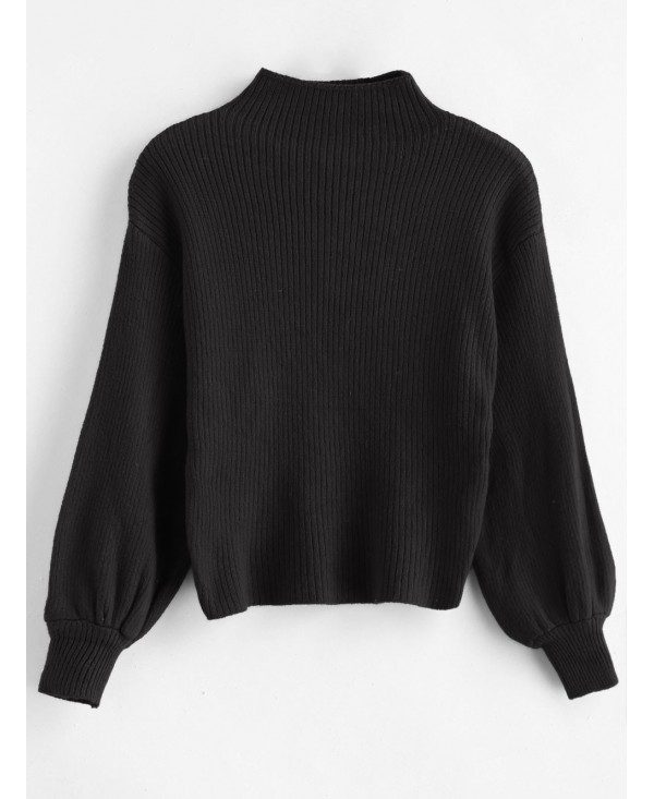 Blouson Sleeve Ribbed Funnel Sweater