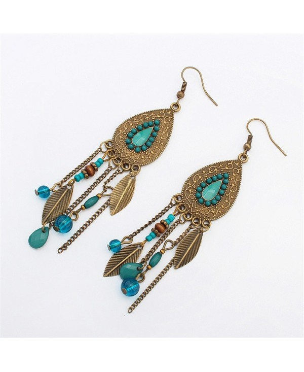 European Style Fashion Vintage Leaf Drop Tassel Earrings