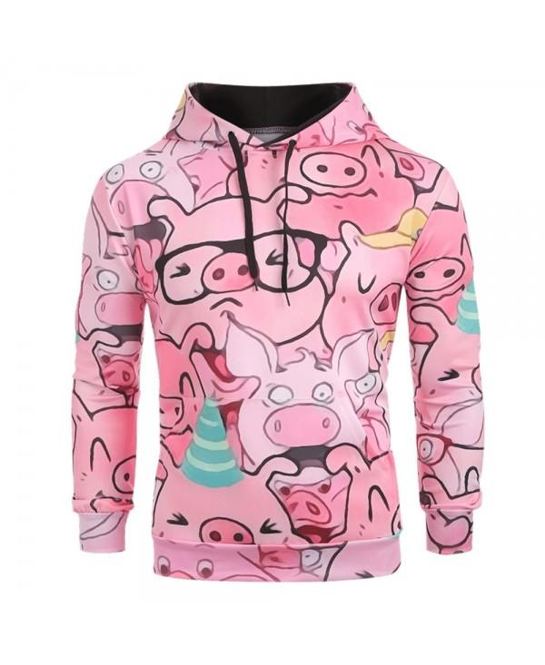 Cartoon Pig Pattern Pullover Hoodie