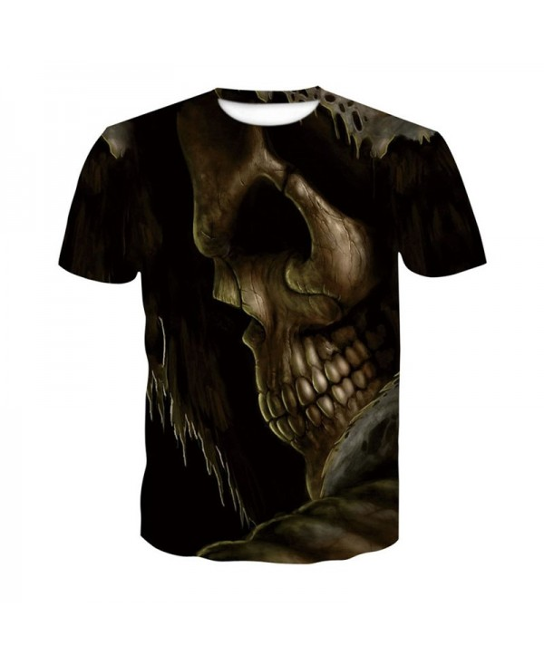 3D Bursting Skull Print Men's Casual Short Sleeve Graphic T-shirt