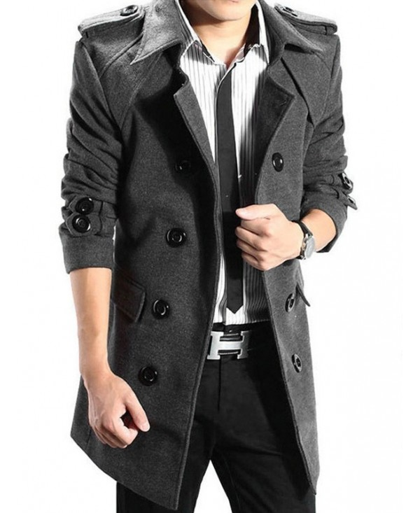 Epaulet Double Breasted Woolen Blend Trench Coat