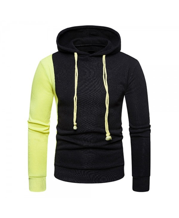 Contrast Color Long Sleeve Drawstring Hoodie