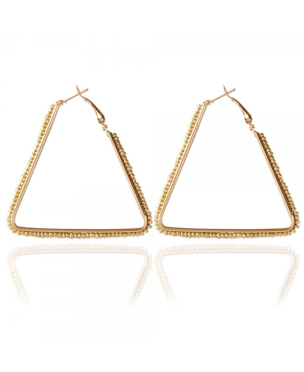 Bohemia Triangle Bead Hollow Hoop Earrings for Women