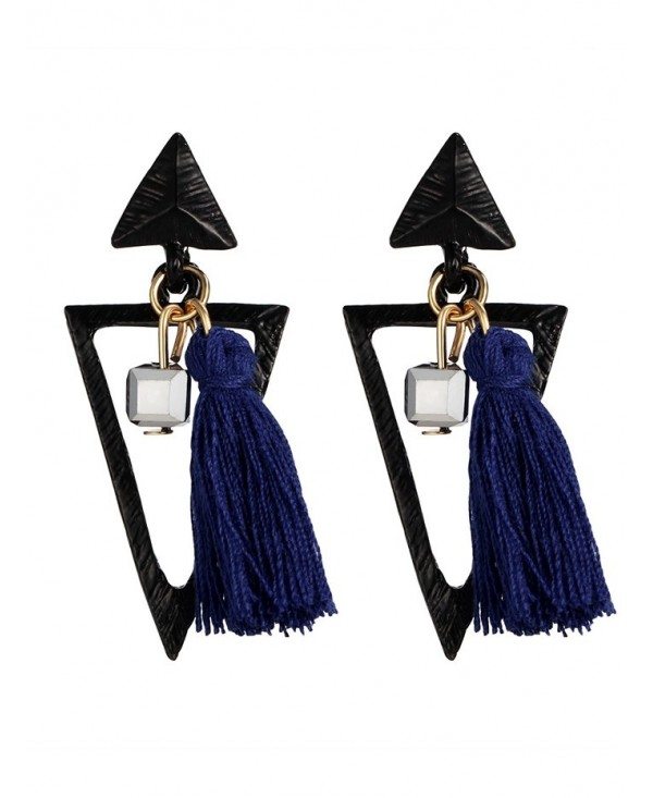 Bohemian Metal Triangle Tassel Earrings