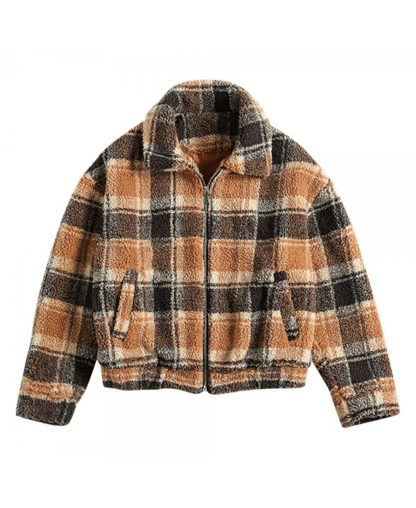 Women Winter Plaid Zipper Short Jacket