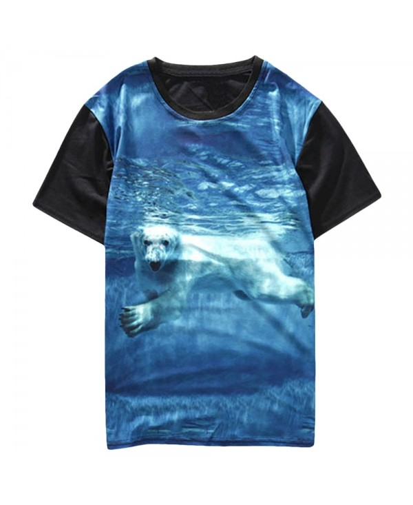 Polar Bear Print Short Sleeves T-shirt