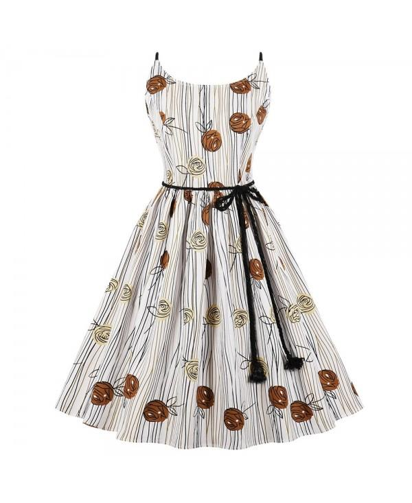 Hepburn Vintage Series Women Dress Spring And Summer Round Neck Floral Printing Design Sleeveless Bandage Corset Dress