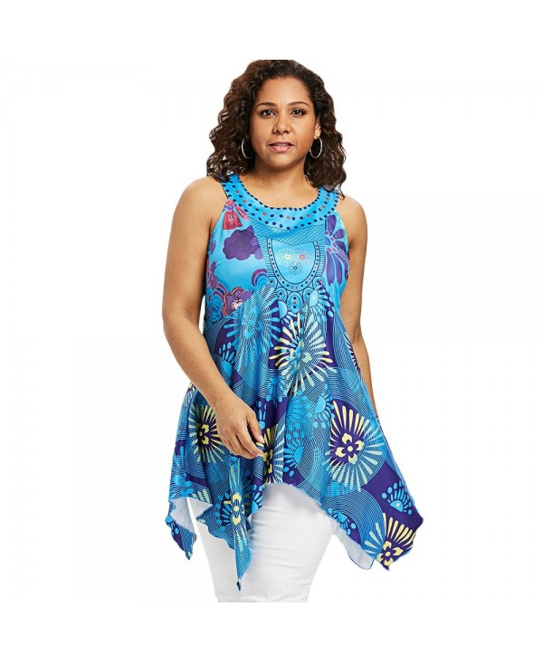 Plus Size Floral Handkerchief Tunic Tank Top