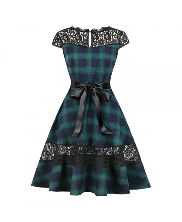Round Collar Cap Sleeve Spliced Lace Plaid Belted A-line Women Dress