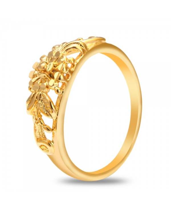 18K Electroplate Gold Color Flower Ring for Women