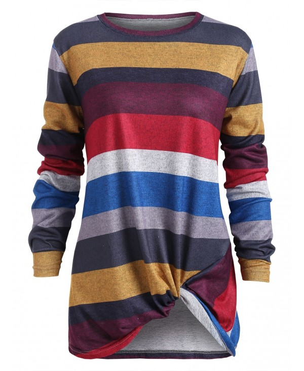 Color Blocking Striped Twist Front T Shirt