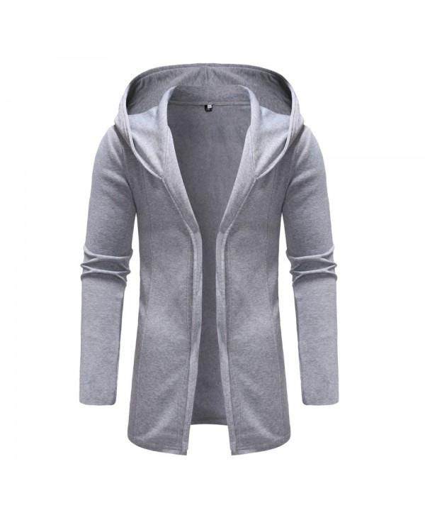 Man Sweater Leisure Time Hoodie Single Color Thickened Fashion Coat