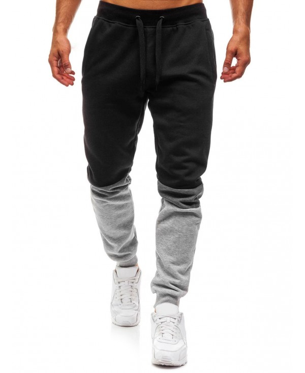 Long Drawstring Elastic Panel Jogger Pants