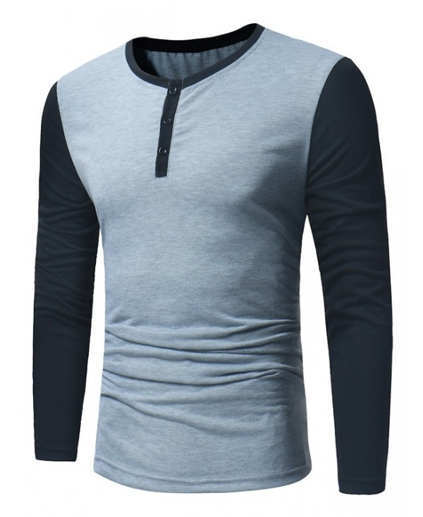 Crew Neck Color Block Panel Henley T-Shirt