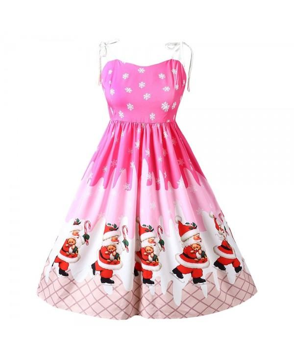 Spaghetti Strap Santa Claus Print Christmas Flare Dress