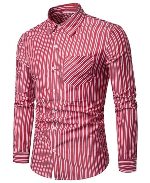 Vertical Stripe Print Long Sleeve Casual Shirt