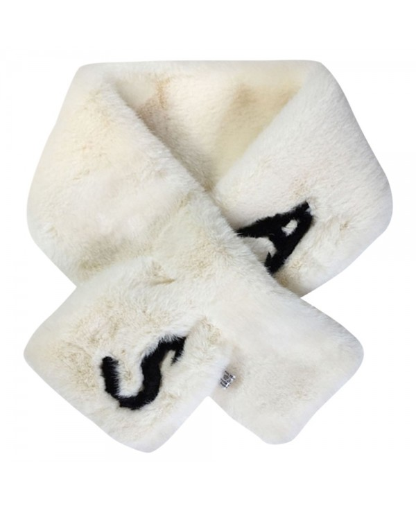 Unisex Letter Pattern Artificial Fur Scarf Neck Warmer Wrap