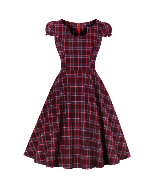 U Neck Short Sleeve Plaid Print A-line Women Vintage Dress