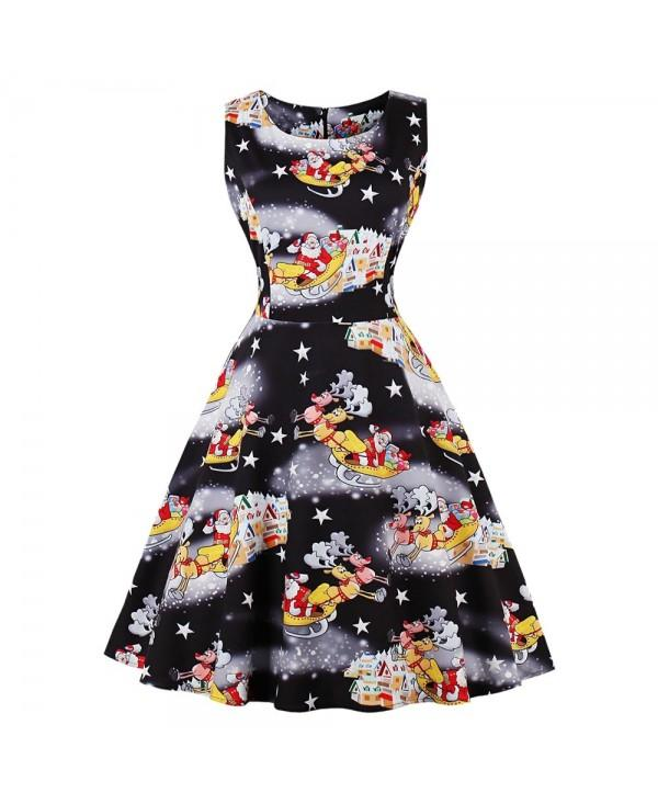 Round Collar Sleeveless Santa Claus Elk Print A-line Women Dress