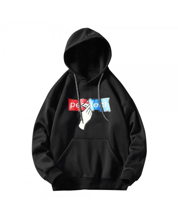 Hand and Letter Print Drawstring Hoodie